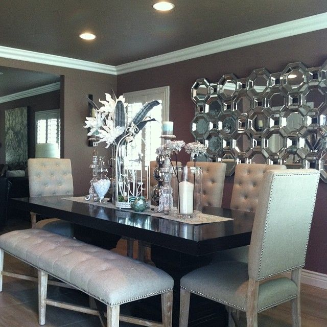 Can I Have This Room Z Galleries Rencourt Dining Chairs Bench Axis Floor Mirror Montecito Table And Orchid Cactus Flowers Make