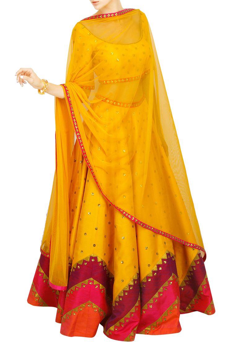 Yellow lehenga set with multicoloured aztec border; perfect Garba outfit