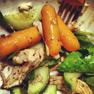 Carrots, cucumber, spinach, chicken and balsamic - Lunch next week?