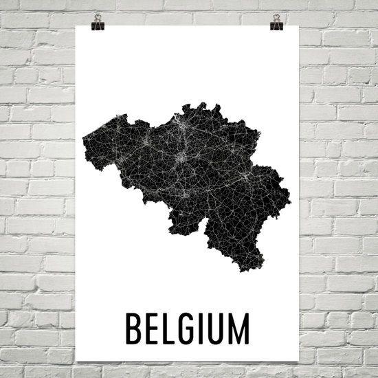 Belgium Map, Map of Belgium, Belgium Print, Belgian Art, Belgium Wall Art, Belgian Gifts, Belgium Decor, Belgium Map Print, Art Print