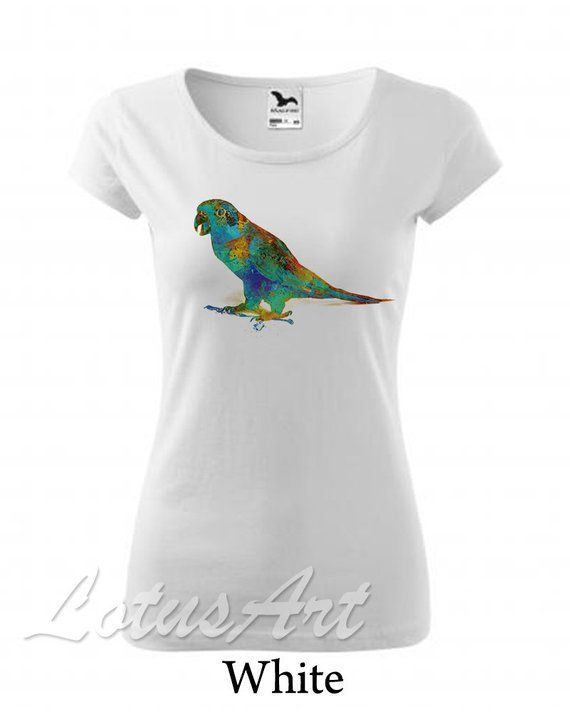 cd376ba24 Parrot Womens T-shirt Personalized Womens T-shirt Custom Womens T-shirts  Gift Art T-shirt Tops for Women Parrot Shirt Women Tshirt Art