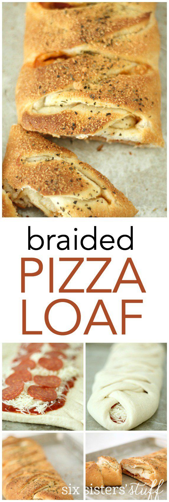 My family loves this Braided Pizza Loaf Recipe from SixSistersStuff.com! It's so easy to make and it tastes amazing!
