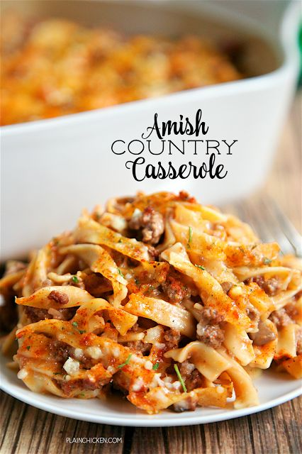 Amish Country Casserole - comfort food at its best!! Hamburger, Tomato soup, cream of mushroom, onion, garlic, milk, Worcestershire sauce, egg noodles and parme