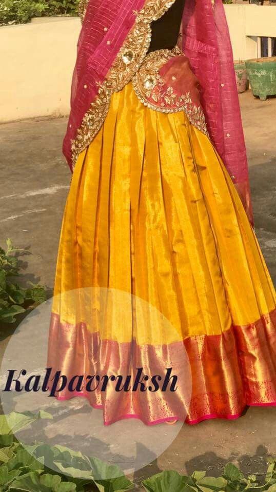 Kanchi half saree with cut work voni