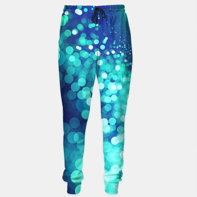 Aqua Blue Glitter Sparkles Sweatpants, Live Heroes @liveheroes by @photography_art_decor. All product: https://liveheroes.com/en/brand/oksana-fineart #fashion #clothing #online #shop #design #geometry #metalic #bright #shine #psychedelic #abstract #metalic #abstract #briht #pattern #trendy #stylish #fashionable #modern #awesome #amazing #clothes  #glitter #bokeh #dots #sparkling #girly #twist #swirl #psychedelic #light #aqua #blue #marine #water #sparkles #night