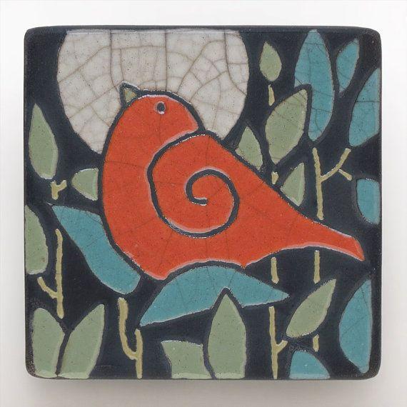 Red Bird,Ceramic tile,handmade 3x3 raku fired art tile, wall art on Etsy, $25.00