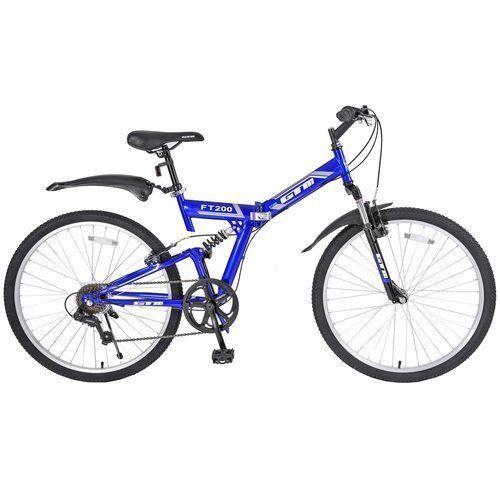 """26"""" Folding Mountain Bike 7 Speed Bicycle Shimano Hybrid Full Suspension Blue  #Kbrand"""