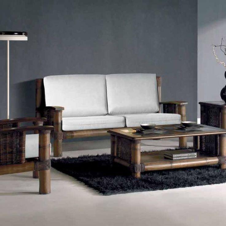 Canapé deux places en bambou et rotin wenge, collection Tropicana wenge