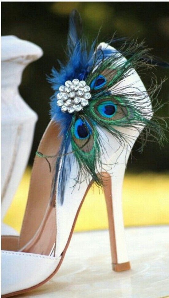 Peacock shoe clip - add a sparkly, colourful clip to a pair of ivory bridal shoes; a great way for the bride to subtly incorporate the wedding colour scheme