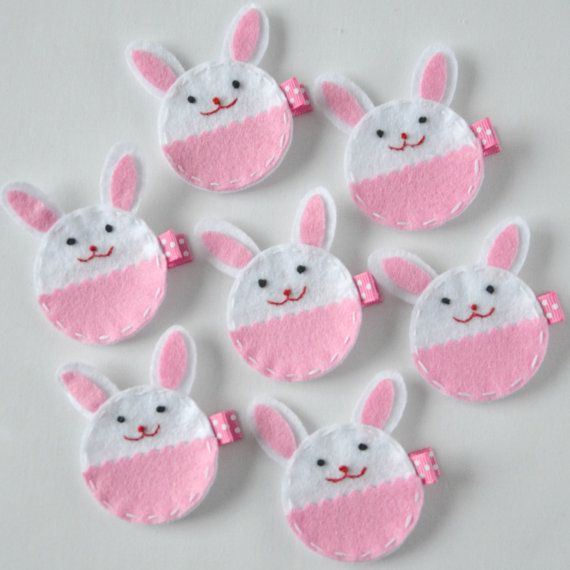 Pink and White Round Bunny Felt Hair Clip - Super cute Easter felt bunny clippies - Spring felt hair bows - Perfect for her Easter basket