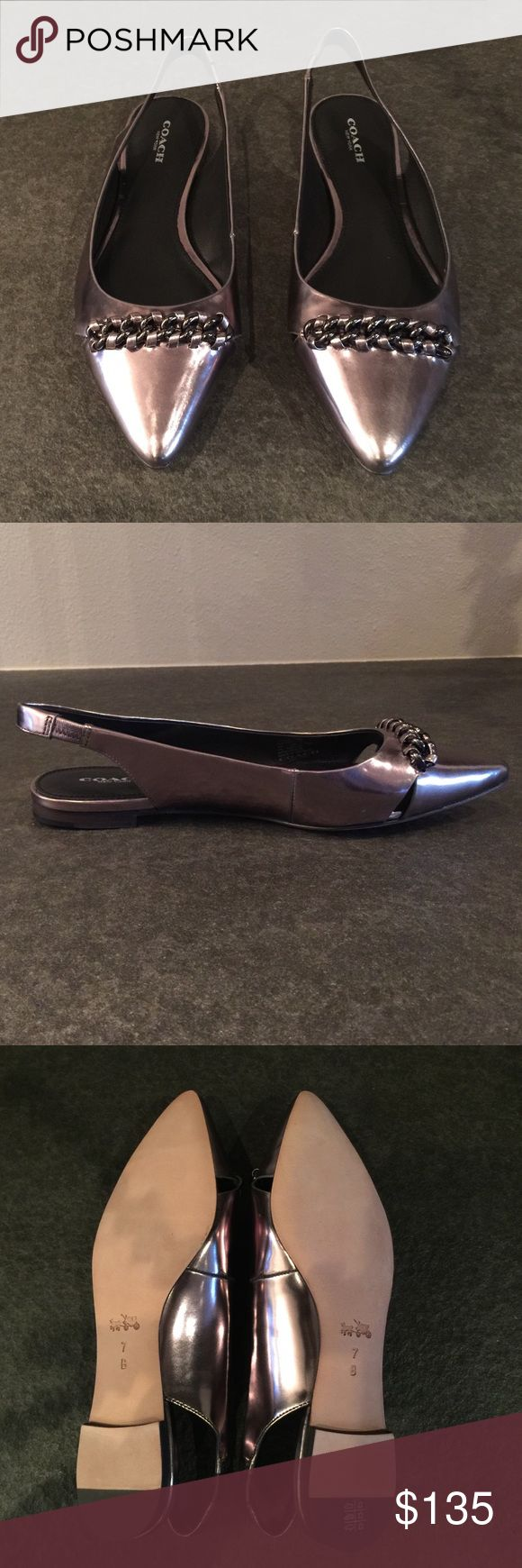 Coach Rodney Flat Slingback Shoes Coach Rodney Flat Slingback Shoes.  Size 7B, Color Warm Pewter.  NWT, Never Worn.  No trades. Coach Shoes Flats & Loafers