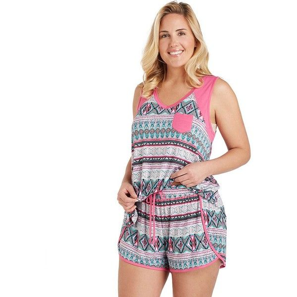 Plus Size Cuddl Duds Pajamas: Color Fusion Tank & Boxer Shorts PJ Set ($32) ❤ liked on Polyvore featuring plus size women's fashion, plus size clothing, plus size intimates, plus size sleepwear, plus size pajamas, light pink, plus size, plus size pyjamas, plus size sleep wear and cuddl duds pajamas