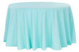 """Polyester 120"""" Round Tablecloth - Turquoise"""
