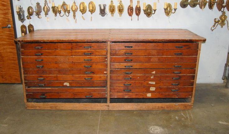 Original 1900s Pine Hamilton MFG Co. Printers Type Cabinet, Vintage Industrial  #HamiltonMFGCo