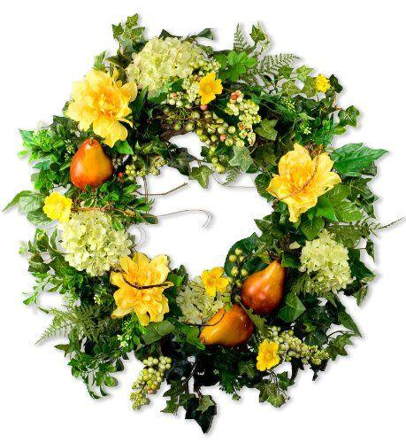 Hydrangea & Pear Silk Wreath (28 Inches) $159.00