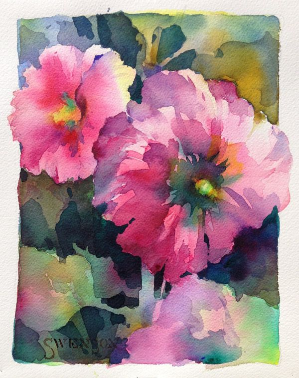 Hollyhocks, By Brenda Swenson  DANIEL SMITH Essentials Watercolor 5ml Set, 6-colors from Daniel Smith Art Supplies