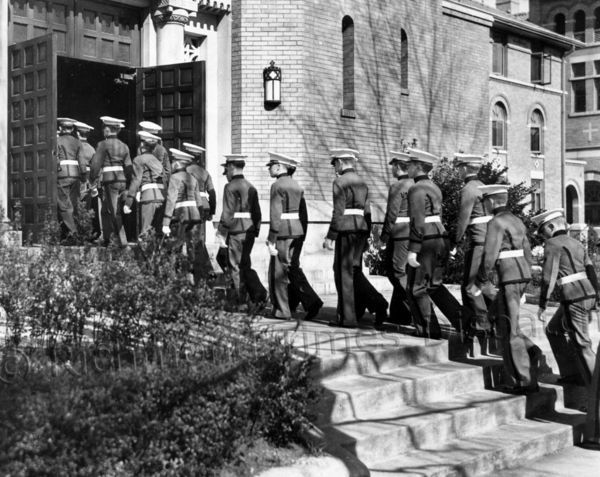 In March 1938, Benedictine High School cadets filed in and served as escorts at a military high Mass at St. Benedict's Catholic Church in Richmond. The special ceremony, which commemorated the Feast Day of St. Benedict, had been conducted only a few times in Richmond. Richmond.com: From The Archives