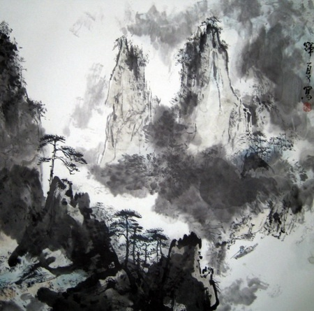 Traditional Chinese painting tends to use lines and the color black to reflect the nature, form, and structure of objects; and is often combined with artistic forms such as poems, ditties, odes and calligraphy. This is a painting of Guilin, a city in China (http://www.e-pilot.cn)