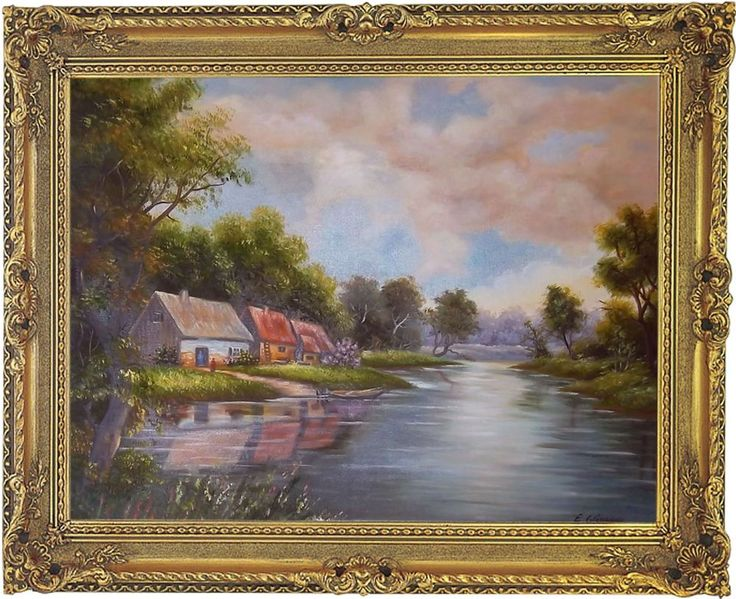 Landschaft Original moderne Öl Malerei Handmalerei Ölgemälde mit Barockrahmen
