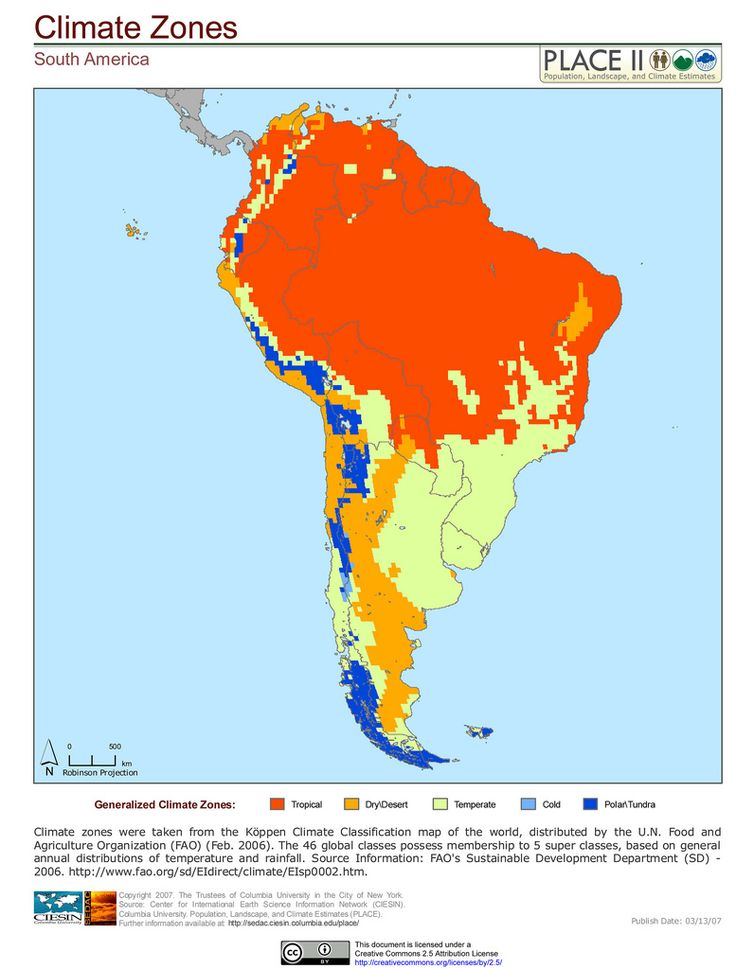 South America Climate Zones - Road map of colombia 2006