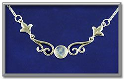 """Moonstone Scroll Necklace - The ethereal beauty of moonstone is showcased in this simple but elegant sterling silver necklace. Necklace is 18"""" long, and is adjustable to 17"""" or 16""""."""