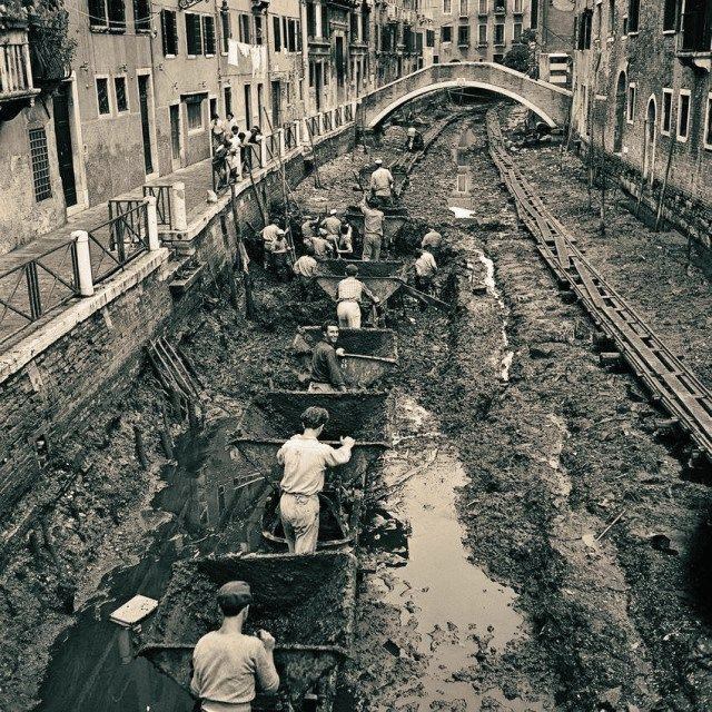 A canal being drained and cleaned in Venice, Italy, 1956