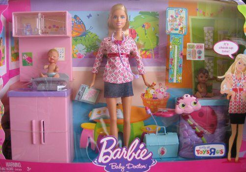 Barbie i can be baby doctor doll playset w 2 babies for Porte bebe toys r us