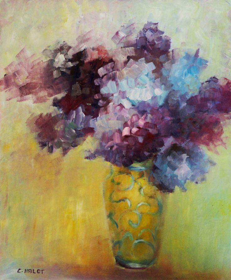 Hortensias dans un vase jaune huile sur panneau de bois 46*55cm