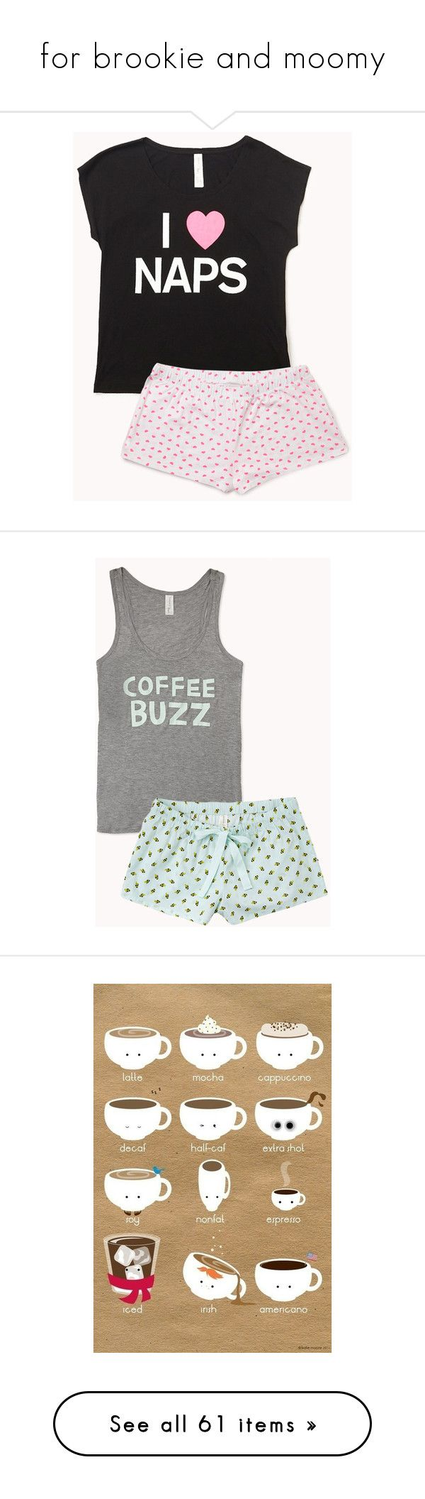 """""""for brookie and moomy"""" by ryan-malone ❤ liked on Polyvore featuring intimates, sleepwear, pajamas, pijamas, pyjamas, sleep, forever 21 pajamas, short sleeve pajama set, forever 21 sleepwear and forever 21"""