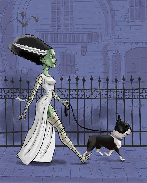 boston terrier art print bride of Frankenstein by rubenacker