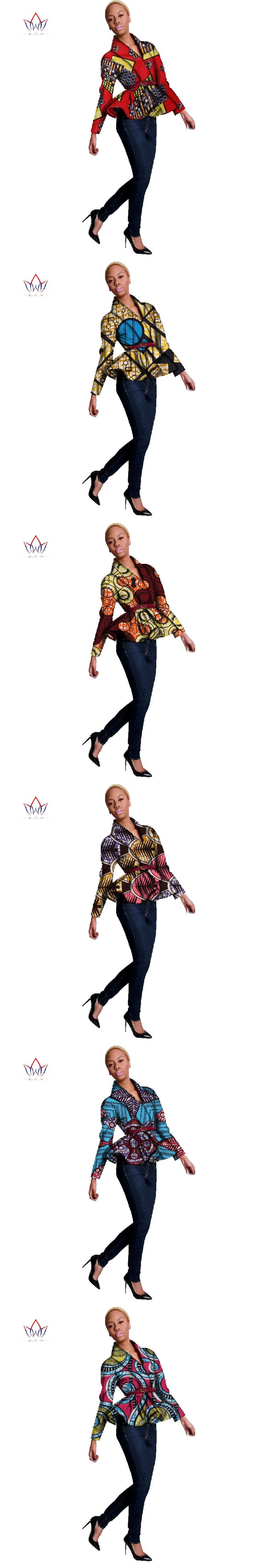 Spring 2017 New African Print Wax Coat Dashiki Blazer Plus Size 6xl Africa Style Clothing for Women Crop Top Casual Coat WY094