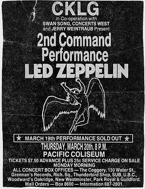 Led Zeppelin - March 20th, 1975 - Pacific Coliseum, Vancouver, BC - Concert Poster