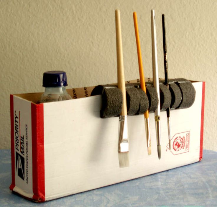 use pipe insulation to create a paintbrush holder for drying. #paint #brushes