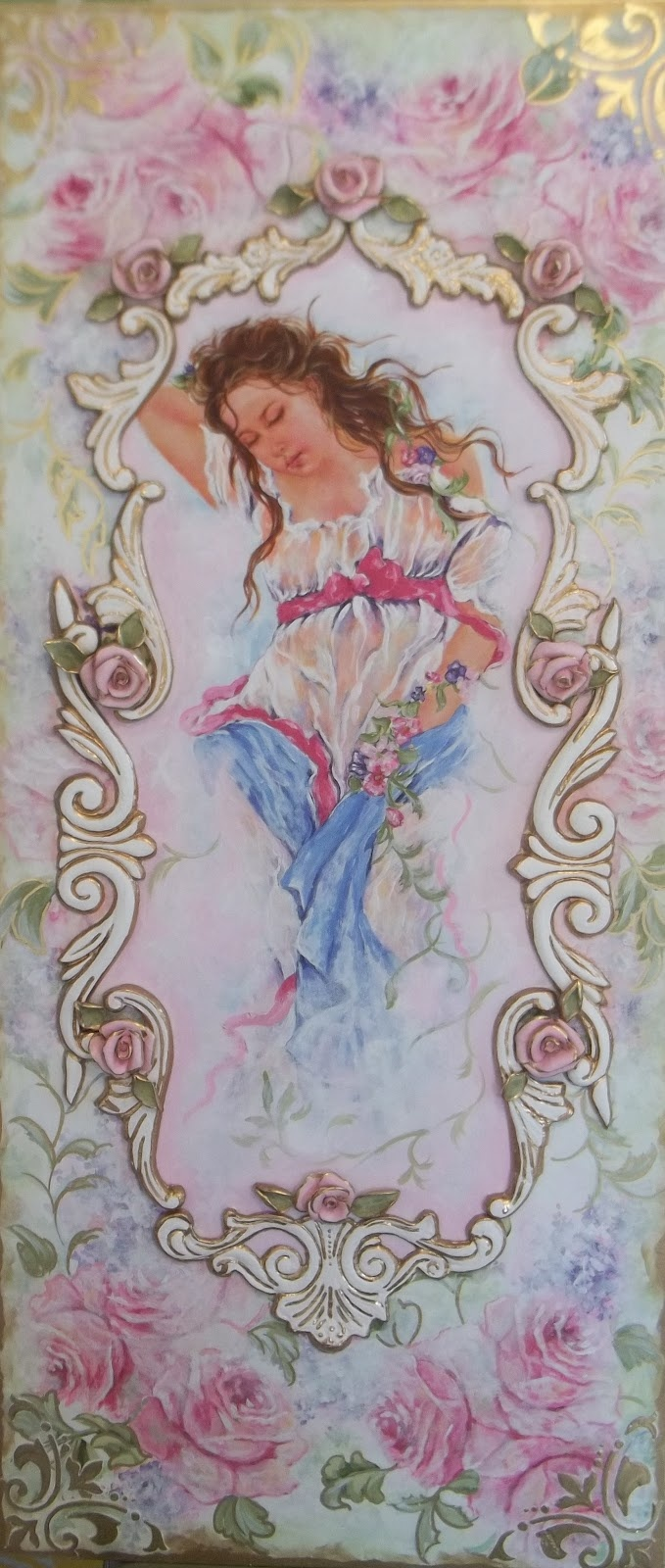 The artist uses pastel colors to create  a soft and romantic painting. There are also flowers and tapestry designs.