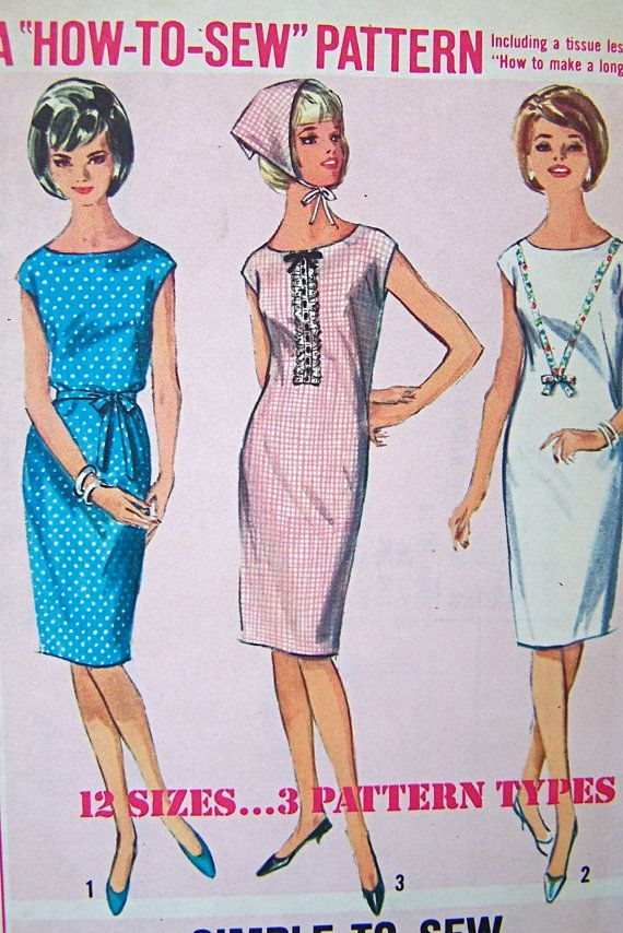 Uncut Vintage 1964 How to Sew Shift Dress Simplicity Pattern