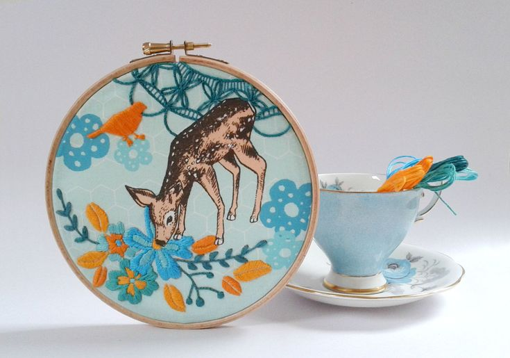 Little fawn embroidery kit diy hoop art deer bird and