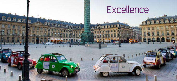 Visit Paris in a 2CV with 4 roues sous 1 parapluie