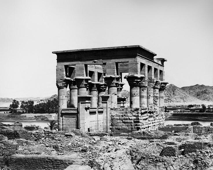 Antonio Beato - Kiosk of the Emperor Trajan (a.k.a. Pharaoh's Bed. Island of Philae, Egypt. Taken between 1870-1900).