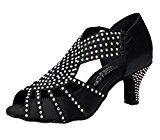 #1: Dayiss Elegant Damen Strass Latein Schuhe Tanzschuhe Pumps mit Absatz Schwarz