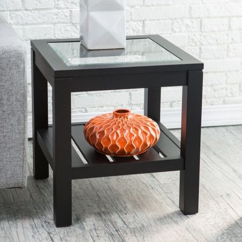 Sutton Glass Top End Table with Slat Bottom