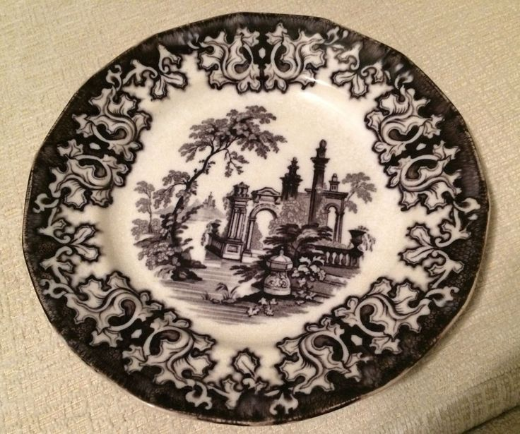 "ANTIQUE FLOW BLACK MULBERRY TRANSFERWARE ATHENS CHARLES MEIGH 9.25"" PLATE 