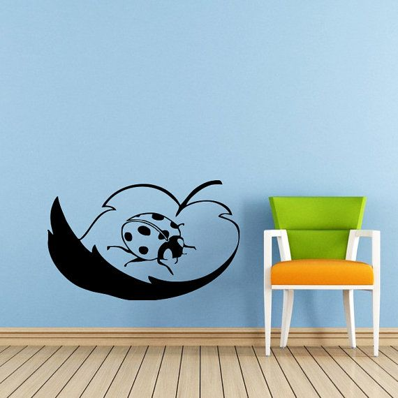 Coccinella Wall Decal coccinella foglie decalcomanie muro vinile autoadesivo interni casa famiglia Decor Art Wall Decor Camera da letto bagno murali SV5988