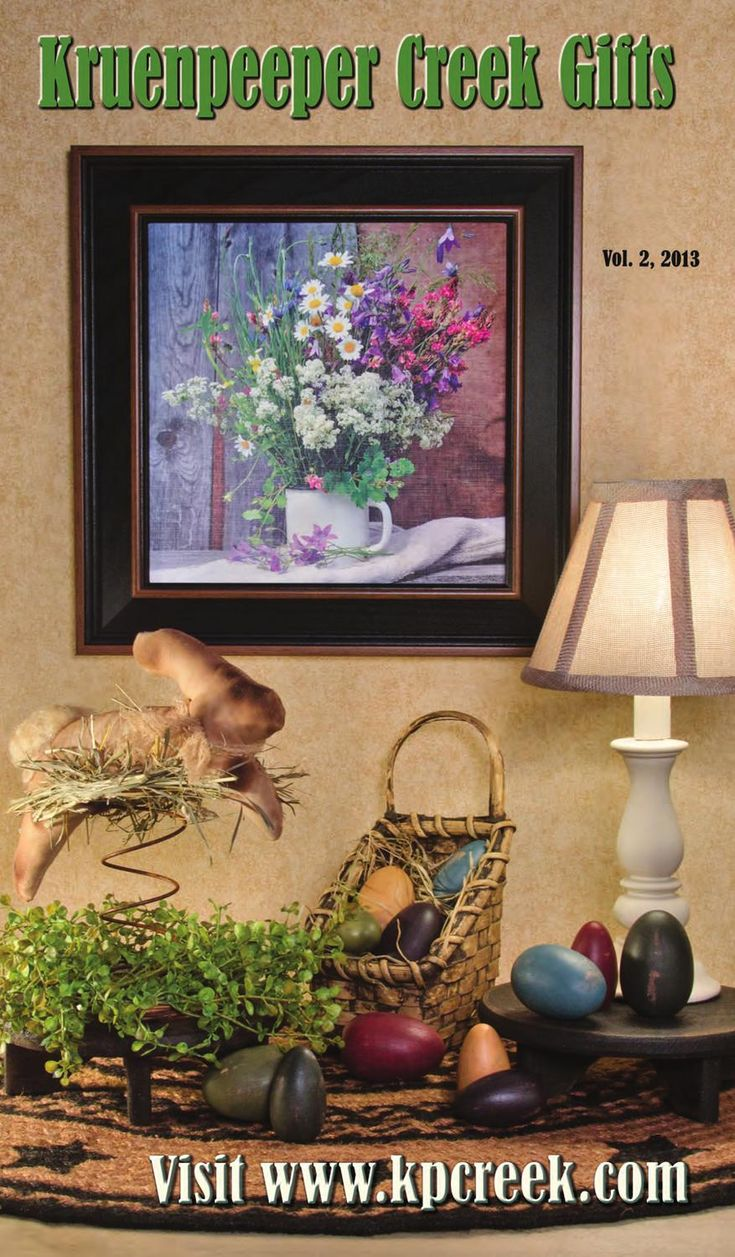 Kruenpeeper Creek Gifts Vol 2 2013  KP Creek Gifts your on-line store for country inspired spring decor. Check out primitive bunnies, flowers, baskets, candles, burlap, framed art & pottery to add cozy warmth and character to your home!