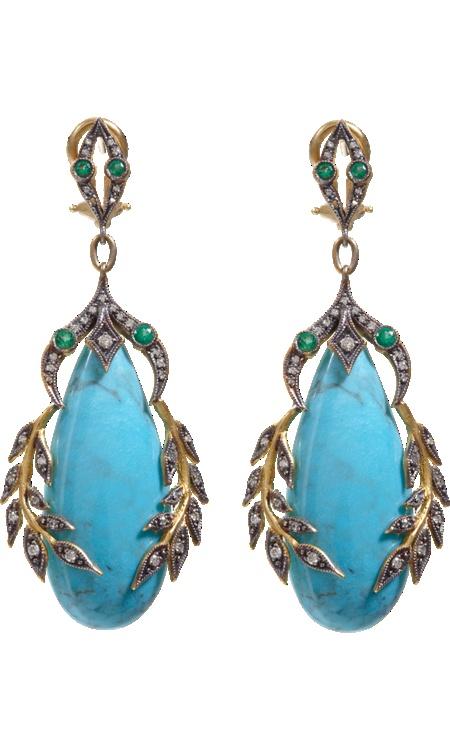 Cathy Waterman Turquoise, Emerald & Diamond Garland Earrings