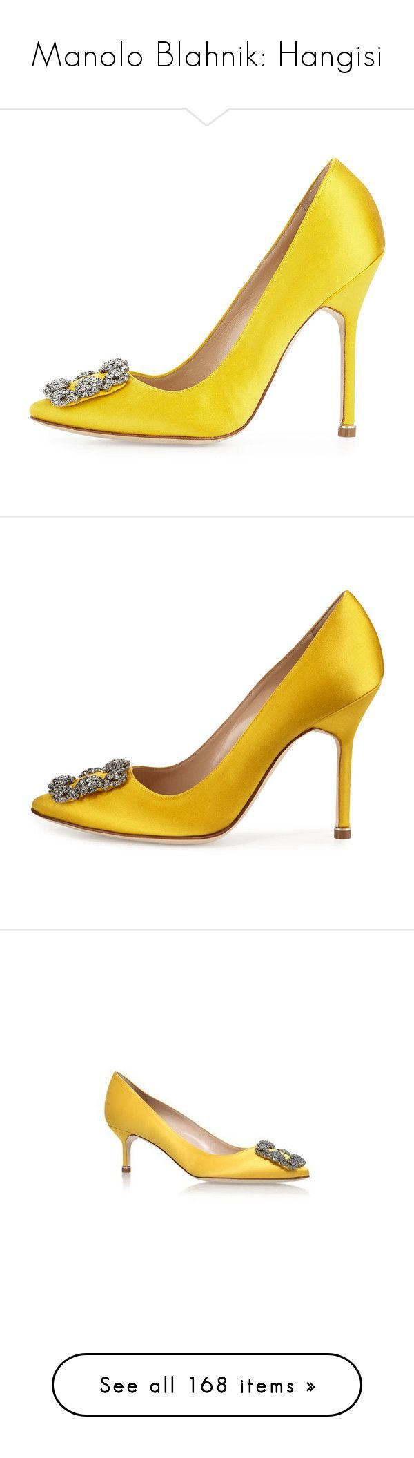 """""""Manolo Blahnik: Hangisi"""" by livnd ❤ liked on Polyvore featuring shoes, pumps, manolo blahnik pumps, satin shoes, yellow shoes, yellow pumps, satin pumps, crystal pumps, buckle shoes and pointed toe high heel pumps #manoloblahnikpumps"""