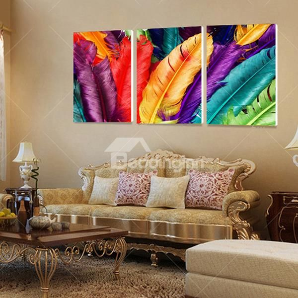 3 Panel Canvas Wall Art Decor for Living Room Colorful Feather Pictures No Frame