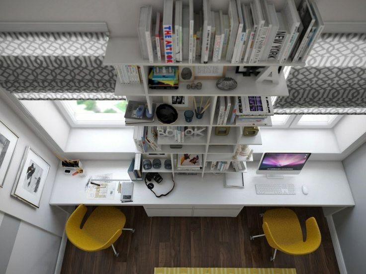 aménagement bureau maison - meuble blanc avec rangement vertical, stores et chaises jaunes