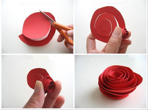 flores con papel rosas y claveles en