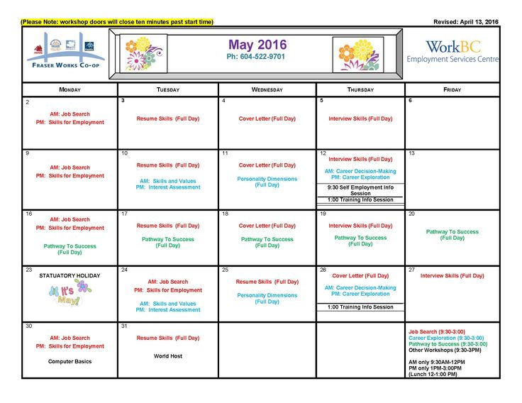 Can you believe it's May!! Here's our workshops calendar!