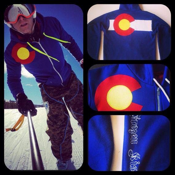 NEW 2015 Colorado Flag custom Hoodie  3 layer sewn flag zippered sweatshirt jacket sweater on Etsy, $75.00